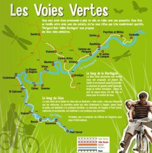 Voies vertes, pistes cyclable Sarlat et location vélo Dordogne
