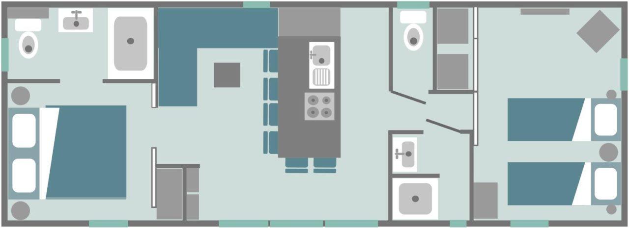 Keywest 2 chambres 2 sdb confort + / plan